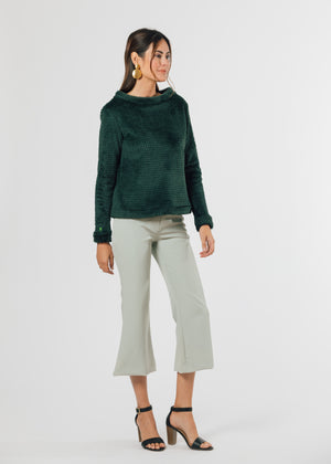 Load image into Gallery viewer, Brighton Boatneck Top in Bubble Fleece (Hunter Green)