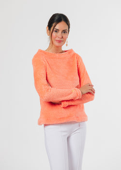Brighton Boatneck Top in Bubble Fleece (Sherbet)