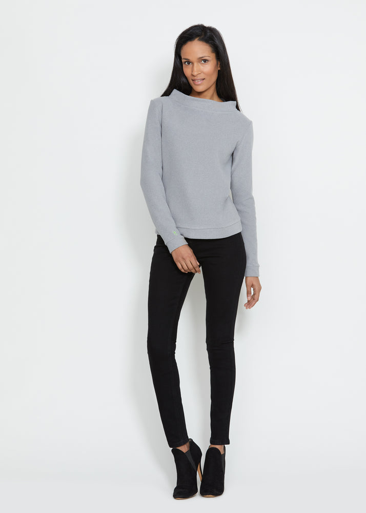 Load image into Gallery viewer, Brighton Boatneck Top in Terry Fleece (Heather Grey)