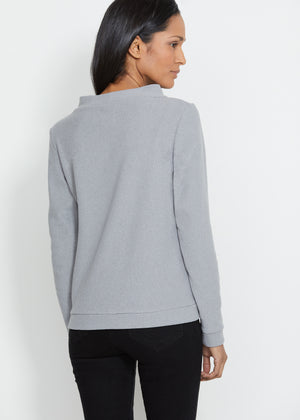 Brighton Boatneck Top in Terry Fleece (Heather Grey)