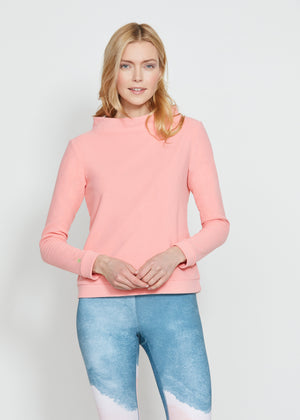 Brighton Boatneck Top in Terry Fleece (Island Coral)