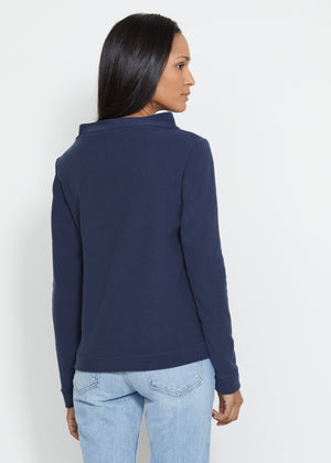 Brighton Boatneck Top in Terry Fleece (Navy)