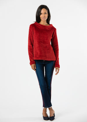 Brighton Boatneck Top in Bubble Fleece (Chili Pepper Red)