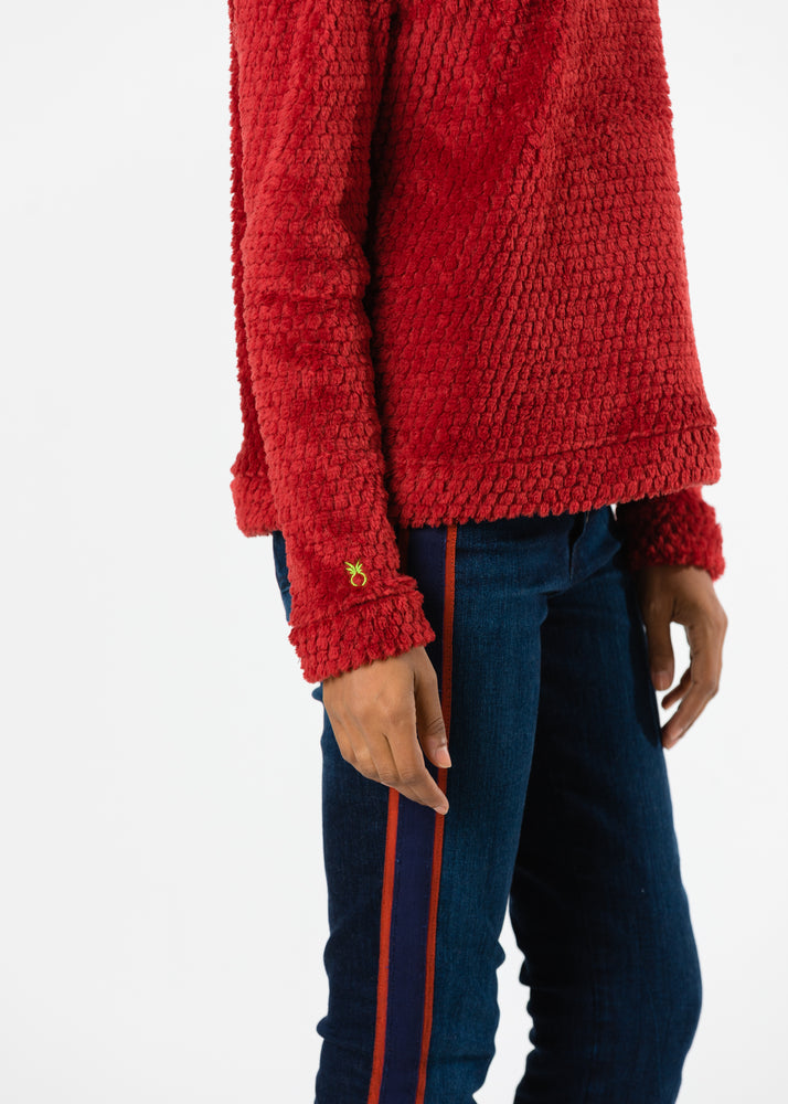 Load image into Gallery viewer, Brighton Boatneck Top in Bubble Fleece (Chili Pepper Red) TH