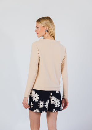 Brighton Boatneck Top in Terry Fleece (Natural Blush)