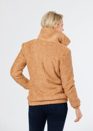 Brooklyn Bomber Jacket in Brushed Fleece (Caramel)