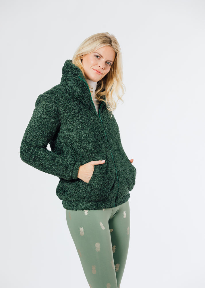 Brooklyn Bomber Jacket in Brushed Fleece (Hunter Green)