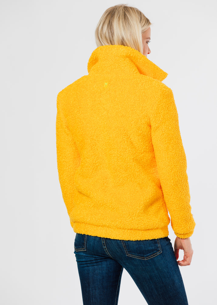 Brooklyn Bomber Jacket in Brushed Fleece (Marigold)