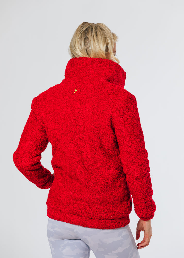 Brooklyn Bomber Jacket in Brushed Fleece (Red)