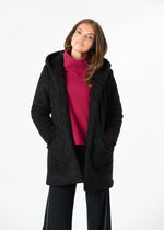 Corbin Car Coat in Brushed Fleece (Black)