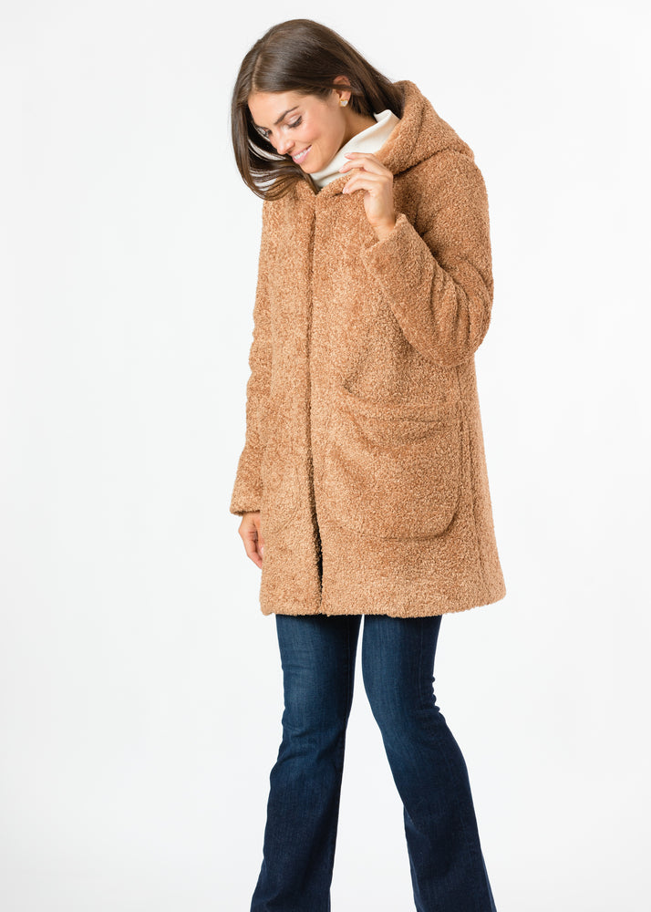 Corbin Car Coat in Brushed Fleece (Caramel)