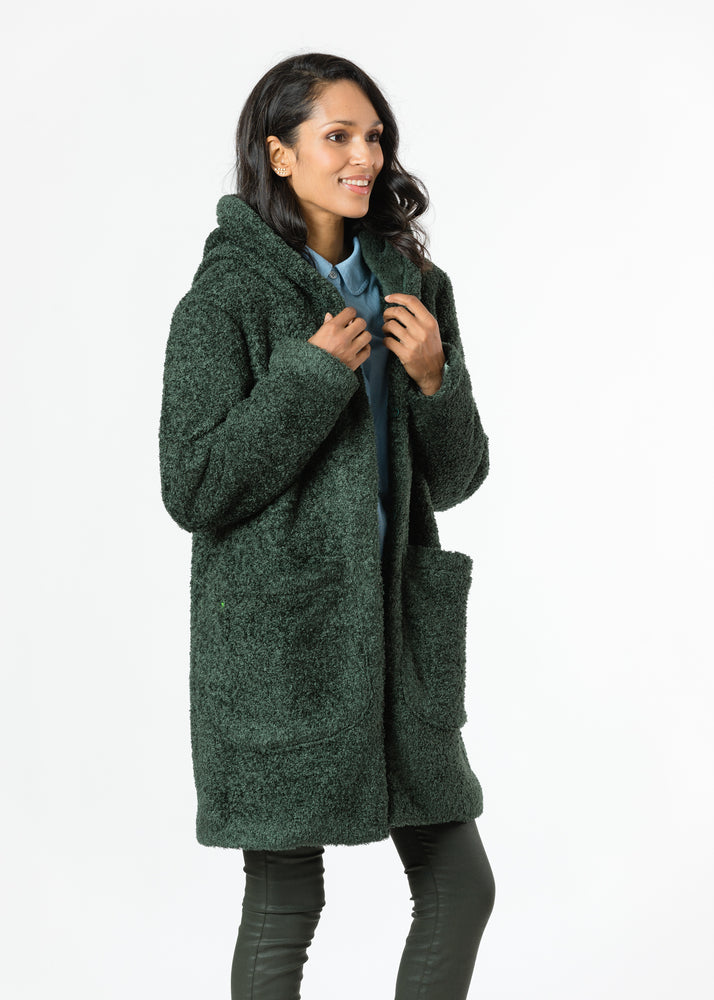 Corbin Car Coat in Brushed Fleece (Hunter Green)
