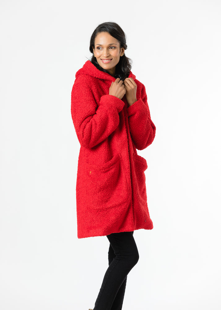 Corbin Car Coat in Brushed Fleece (Red)