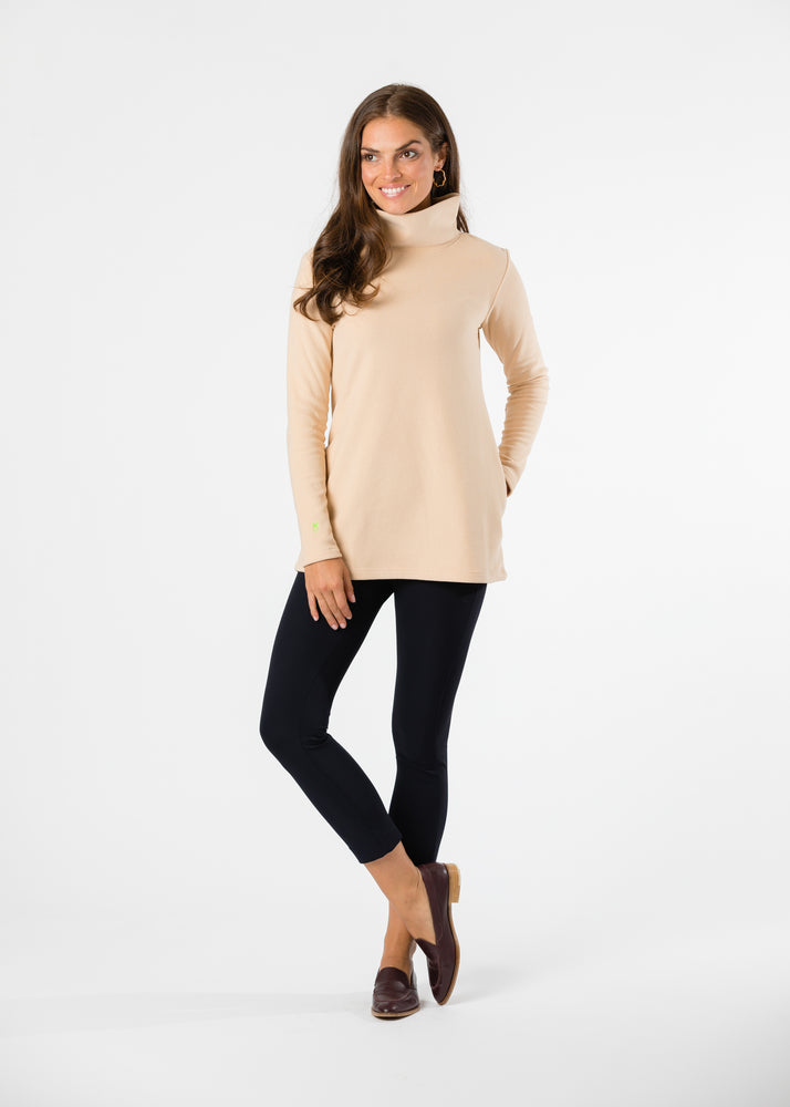 Cobble Hill Turtleneck in Terry Fleece (Natural Blush) TH