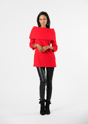 Calyer Cowl Neck Sweater (Red) TH