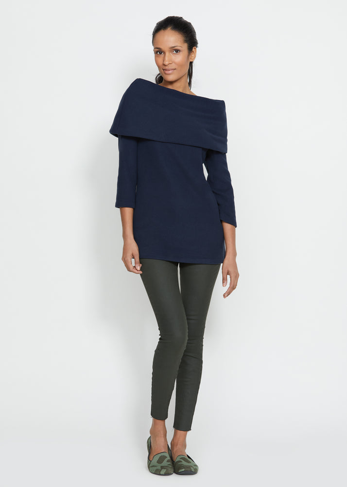 Calyer Cowl Neck Sweater (Navy) TH
