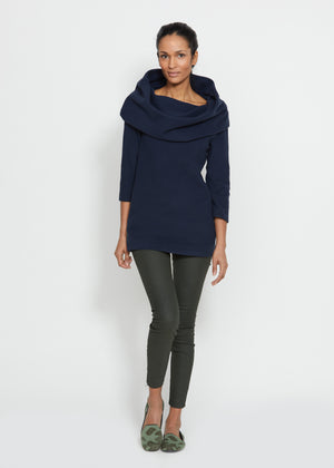 Calyer Cowl Neck Sweater (Navy)