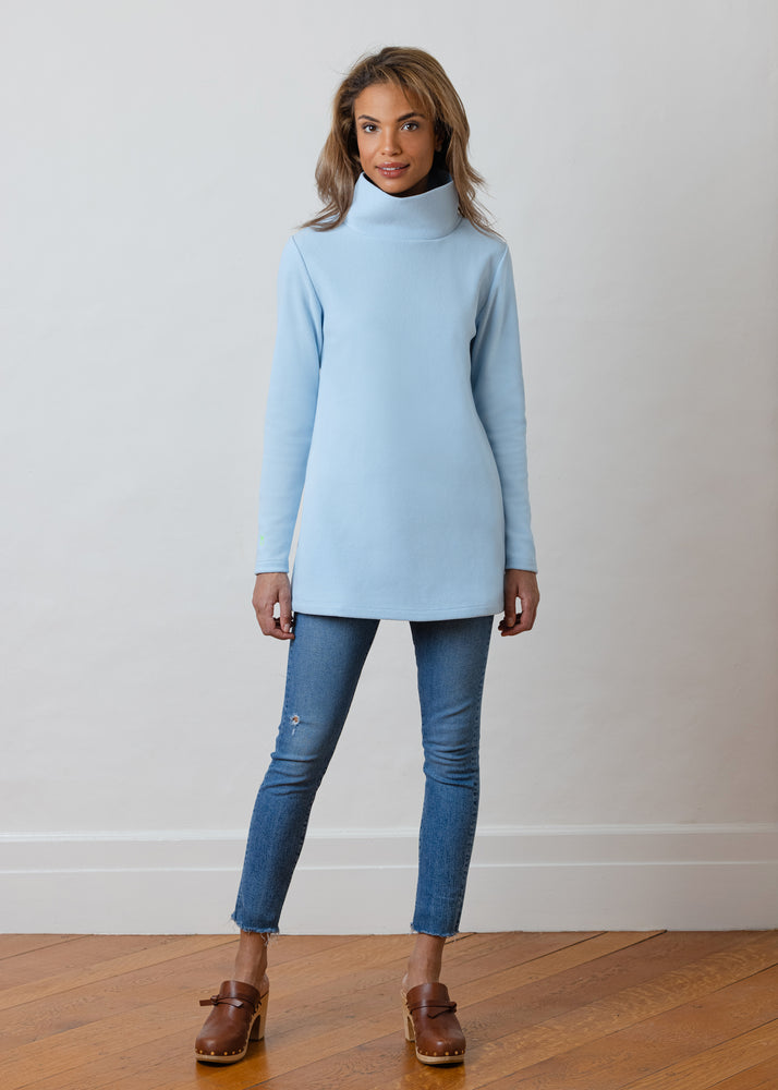 Load image into Gallery viewer, Cobble Hill Turtleneck in Terry Fleece (Ice Blue)