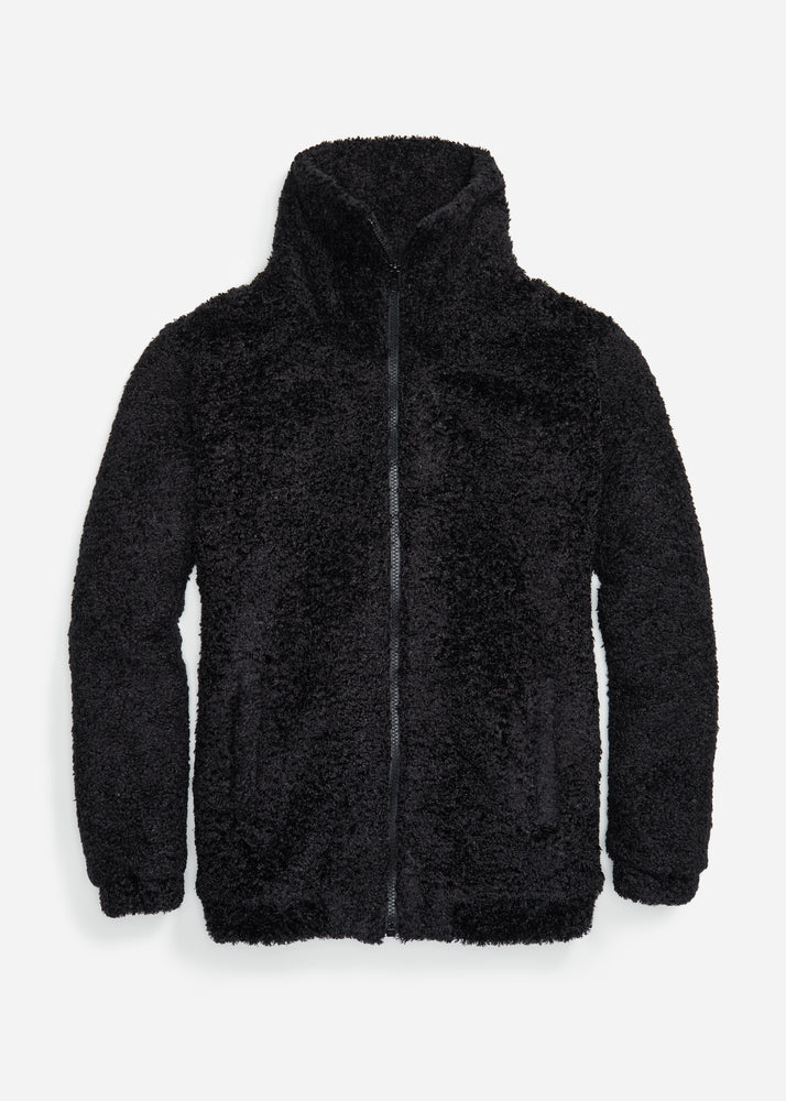 Brooklyn Bomber Jacket in Brushed Fleece (Black)