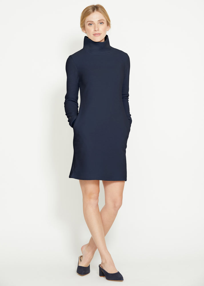 Tilden Turtleneck Dress (Navy)