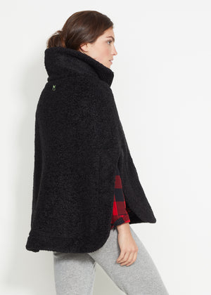 Ashford Poncho (Black Brushed Fleece)