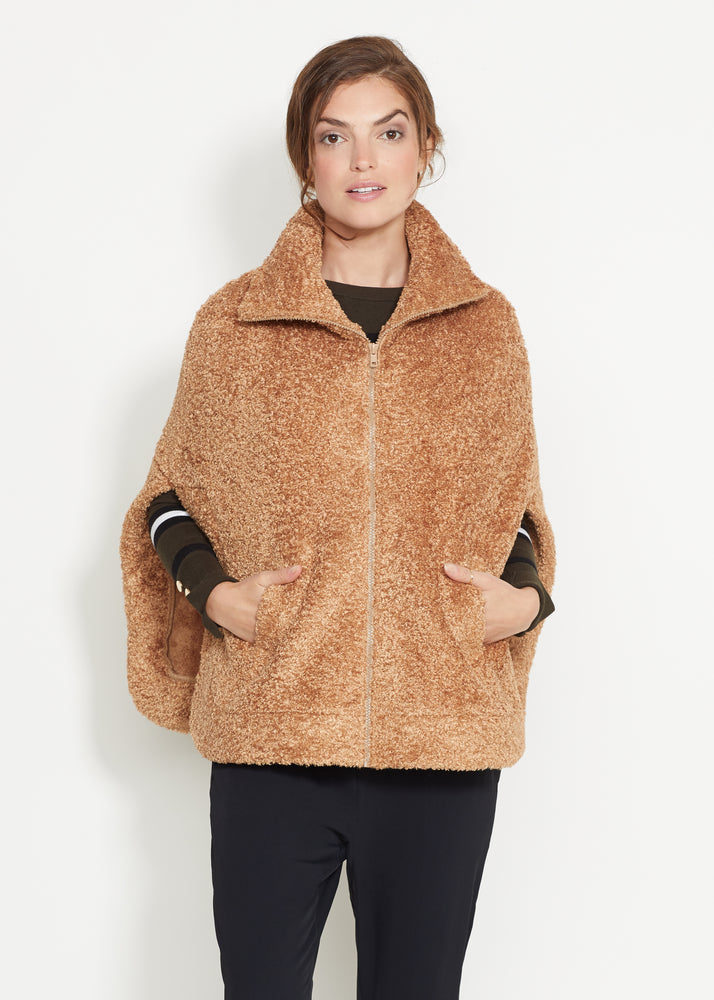 Ashford Poncho in Brushed Fleece (Caramel)
