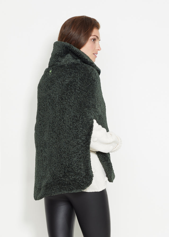 Ashford Poncho (Hunter Green Brushed Fleece)