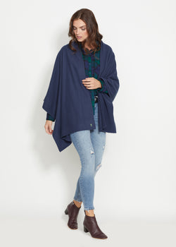 Bedford Blanket Scarf in Lightweight Vello Fleece (Navy)