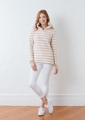 Prospect Pullover in Striped Fleece (Natural Blush / White)