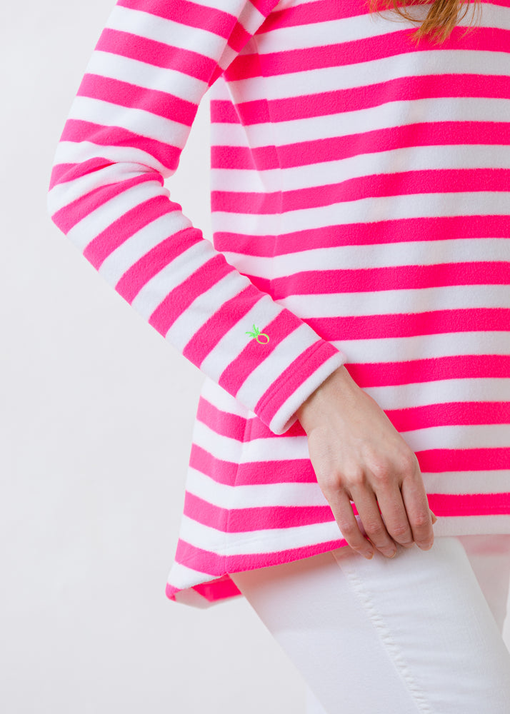 Prospect Pullover in Striped Fleece (Neon Pink / White)