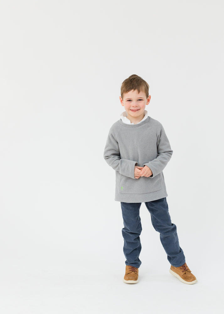 Kids Crewneck in Terry Fleece (Heather Grey)