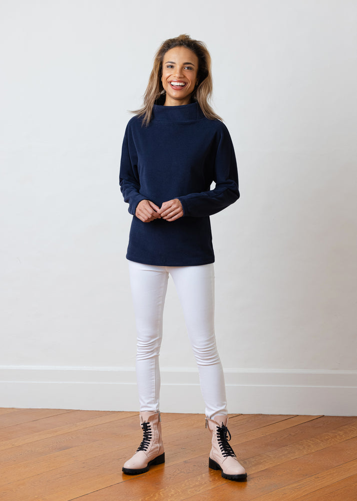 Load image into Gallery viewer, Taylor Tunic in Vello Fleece (Navy)