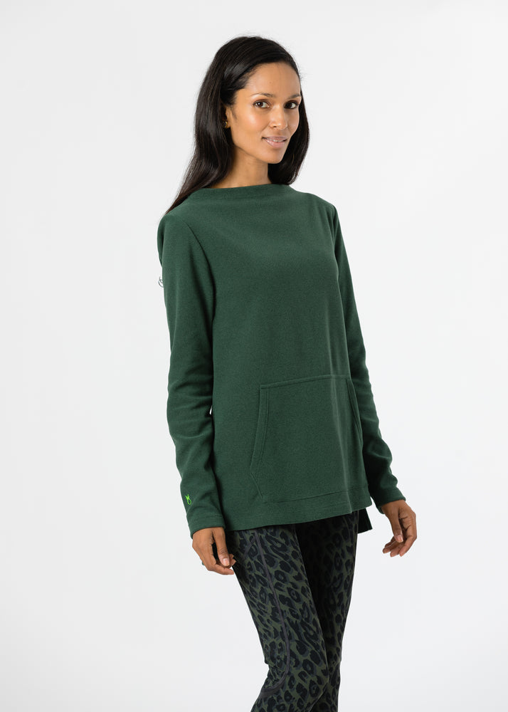 Highland High-Low in Terry Fleece (Hunter Green)
