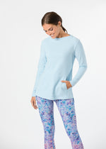 Highland High-Low in Terry Fleece (Ice Blue)