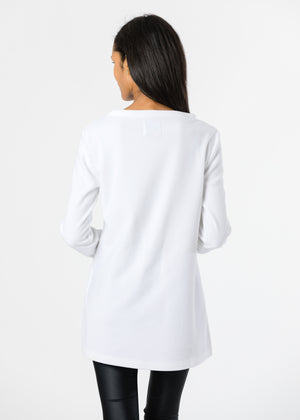 Highland High-Low in Terry Fleece (White) TH