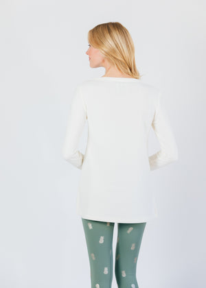 Highland High-Low in Terry Fleece (Off White)