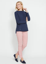 Highland High-Low Top in Terry Fleece (Navy)