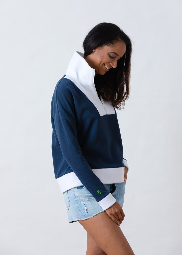 Putnam Pullover in Terry Fleece (Navy / White)