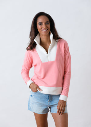 Load image into Gallery viewer, Putnam Pullover in Terry Fleece (Island Coral / Off White)