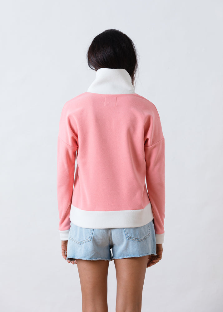 Putnam Pullover in Terry Fleece (Island Coral / Off White)