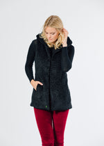 Marine Hooded Vest in Brushed Fleece (Black)