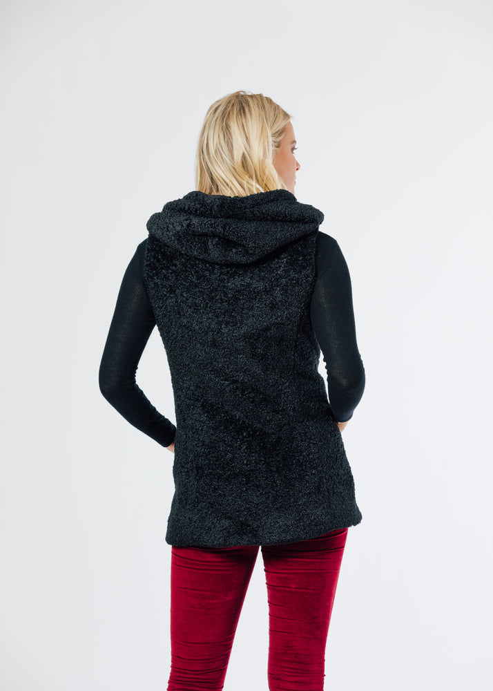 Marine Hooded Vest in Brushed Fleece (Black) TH