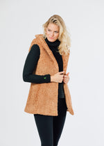 Marine Hooded Vest in Brushed Fleece (Caramel)