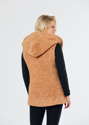 Marine Hooded Vest in Brushed Fleece (Caramel) TH