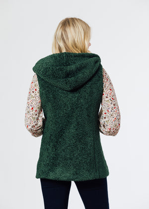 Marine Hooded Vest in Brushed Fleece (Hunter Green)