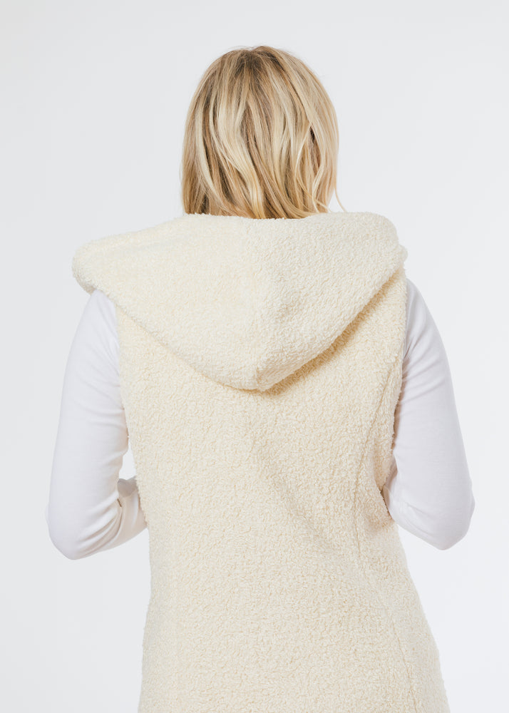 Marine Hooded Vest in Brushed Fleece (Off-White)