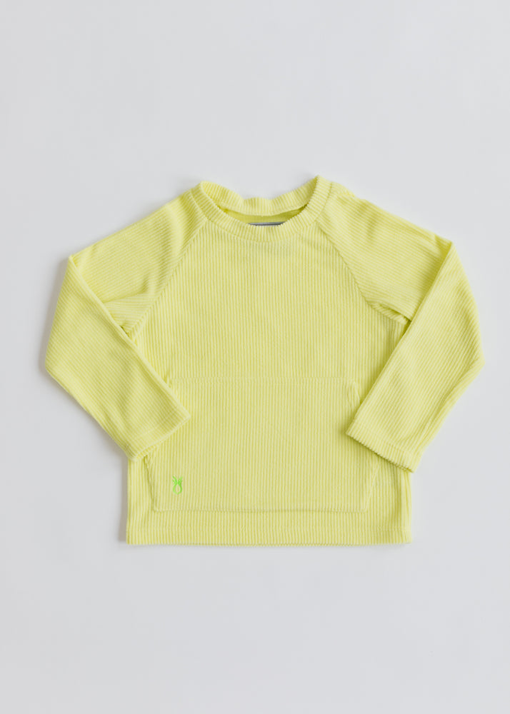 Kids Crewneck in Ribbed Fleece (Soft Yellow)