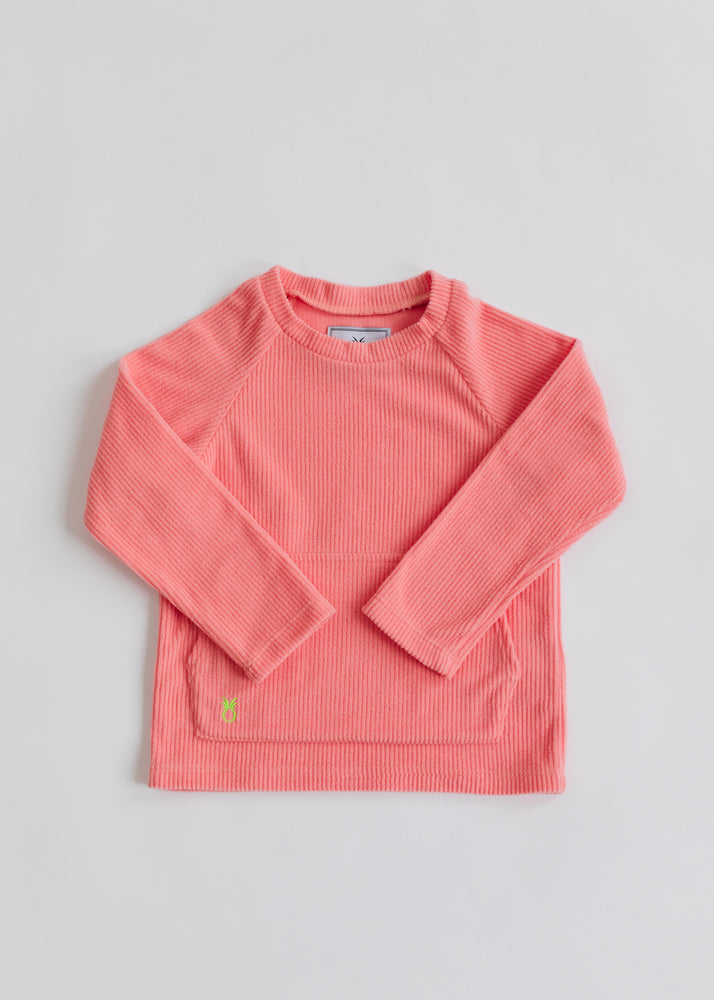 Kids Crewneck in Ribbed Fleece (Island Coral)