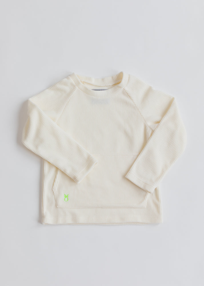 Kids Crewneck in Ribbed Fleece (Off-White)