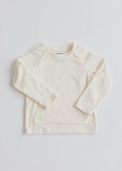Kids Crewneck in Ribbed Fleece (Off White)